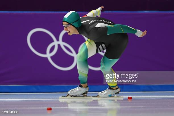 Daniel Greig of Australia competes during the Speed Skating Men's 1,000m on day 14 of the PyeongChang 2018 Winter Olympic Games at Gangneung Oval on...