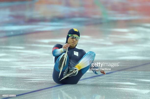 Daniel Greig of Australia falls onto the ice at he start of his heat during the Men's 500 m Race 1 of 2 Speed Skating event during day three of the...
