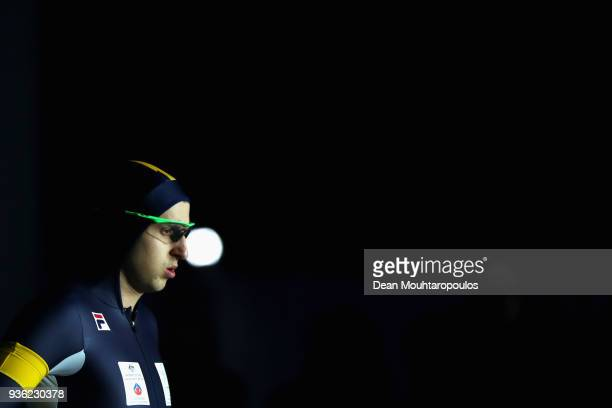 Daniel Greig of Australia gets ready to compete during De Zilveren Bal or Silver Ball held in the Elfstedenhal on March 21 2018 in Leeuwarden...