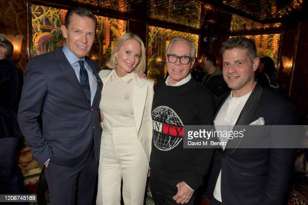 Daniel Grieder guest Tommy Hilfiger and Michael Schneier attend the TOMMYNOW after party at Annabels on February 16 2020 in London England