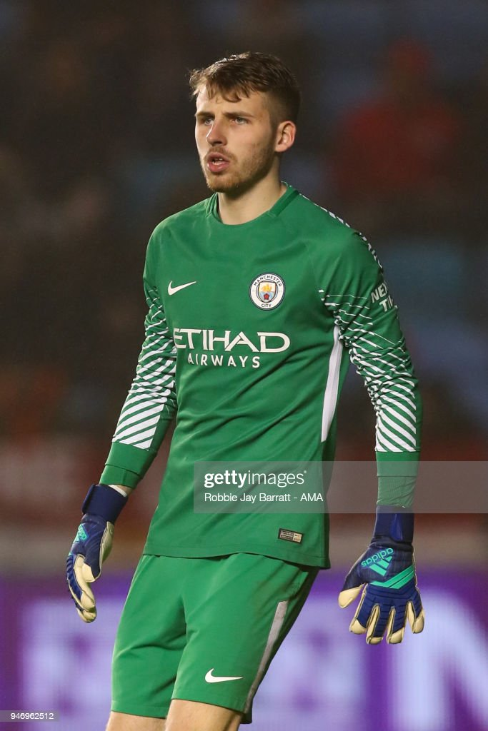 Daniel Grimshaw of Manchester City during the Premier League 2 match at Manchester City Football Academy on April 13, 2018 in Manchester, England.