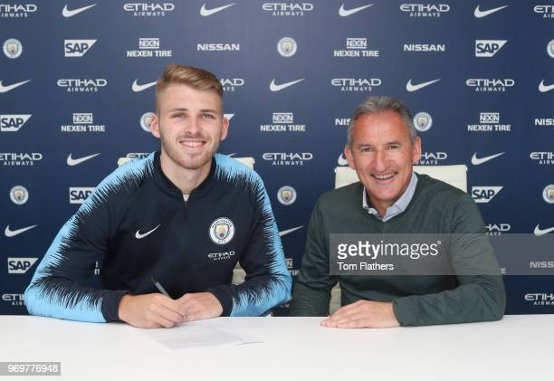 Daniel Grimshaw signs a new contract with Manchester City at Manchester City Football Academy on June 8 2018 in Manchester England