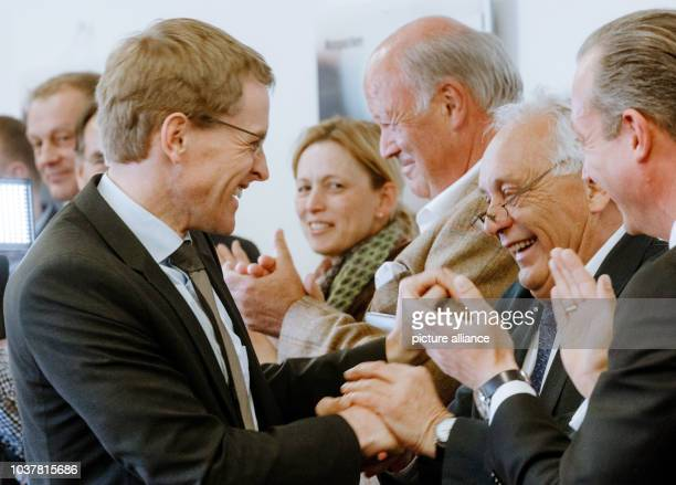 Daniel Guenther state chairman of the CDU in SchleswigHolstein is welcomed by the parliamentary group members at the first meeting after the...