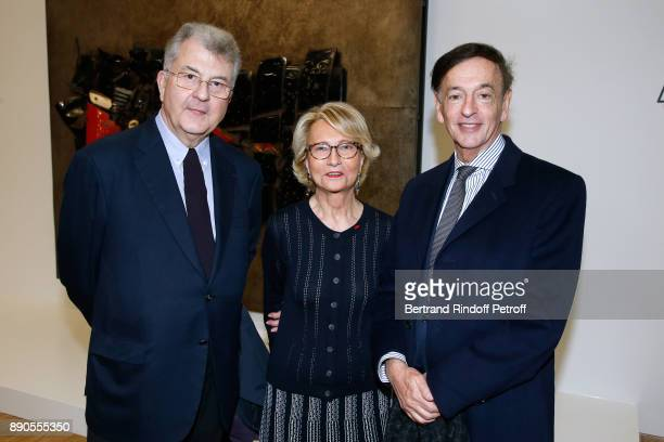 Daniel Guerlain his wife Florence Guerlain and Director of sponsorship LVMH JeanPaul Claverie attend the Cesar Retrospective at Centre Pompidou on...