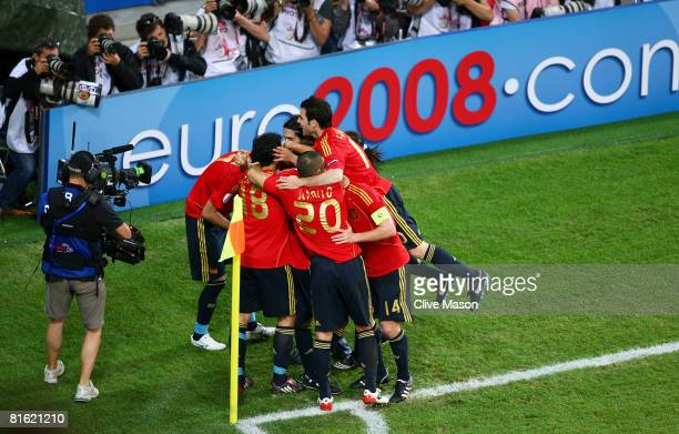 Daniel Guiza of Spain is mobbed by team mates after scoring the winning goal during the UEFA EURO 2008 Group D match between Greece and Spain at...