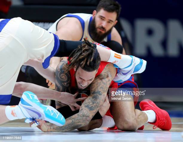 Daniel Hackett, #23 of CSKA Moscow competes with Brock Motum, #12 of Valencia Basket in action during the 2019/2020 Turkish Airlines EuroLeague...