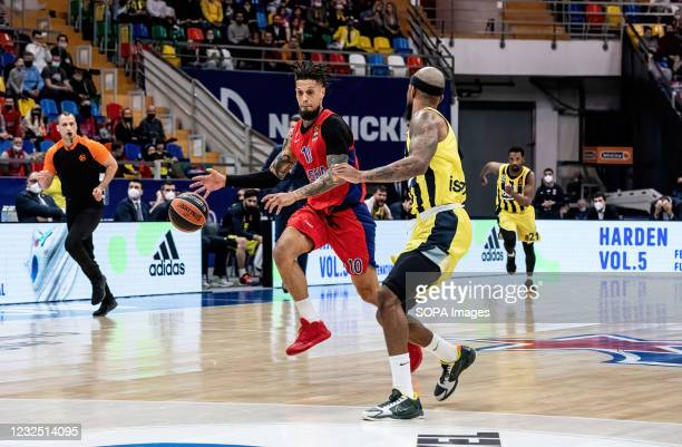Daniel Hackett of CSKA Moscow and Lorenzo Brown of Fenerbahce Beko Istanbul in action during the Game 2 of the 2020-2021 season between CSKA Moscow...