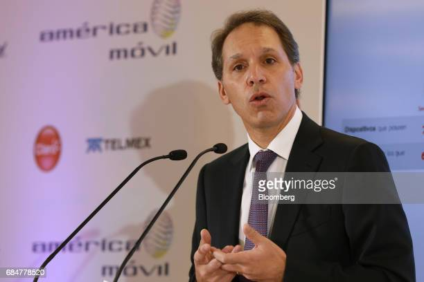 Daniel Hajj chief executive officer of American Movil SAB speaks during a press conference at the company's headquarters in Mexico City Mexico on...