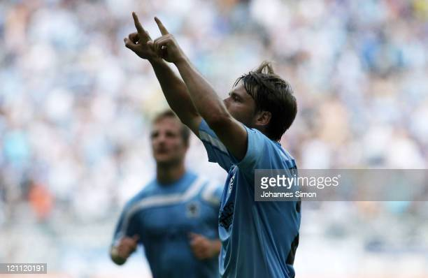 Daniel Halfar of Muenchen celebrates after scoring his team's 2nd goal during the Second Bundesliga match between TSV 1860 Muenchen and Erzgebirge...