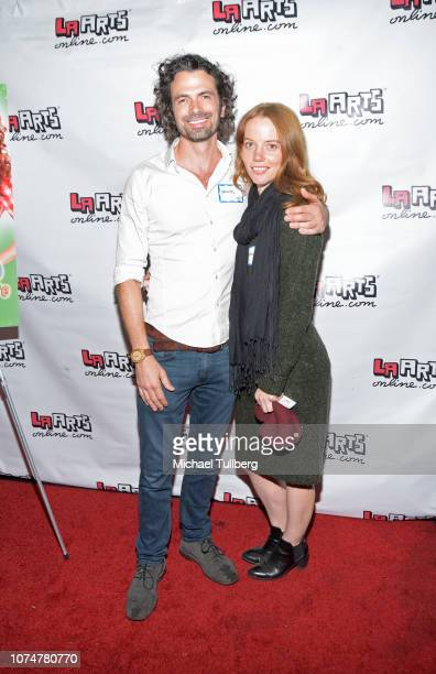 Daniel Hall and Megan Easton pose before a performance of Longate's stage show 'Dixie's Tupperware Party' at Kirk Douglas Theatre on November 29 2018...
