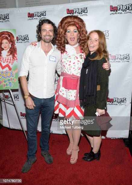 Daniel Hall Dixie Longate and Megan Easton pose before a performance of Longate's stage show 'Dixie's Tupperware Party' at Kirk Douglas Theatre on...