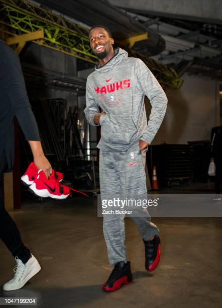 Daniel Hamilton of the Atlanta Hawks arrives to the arena prior to the preseason game against the Oklahoma City Thunder on October 7 2018 at BOK...