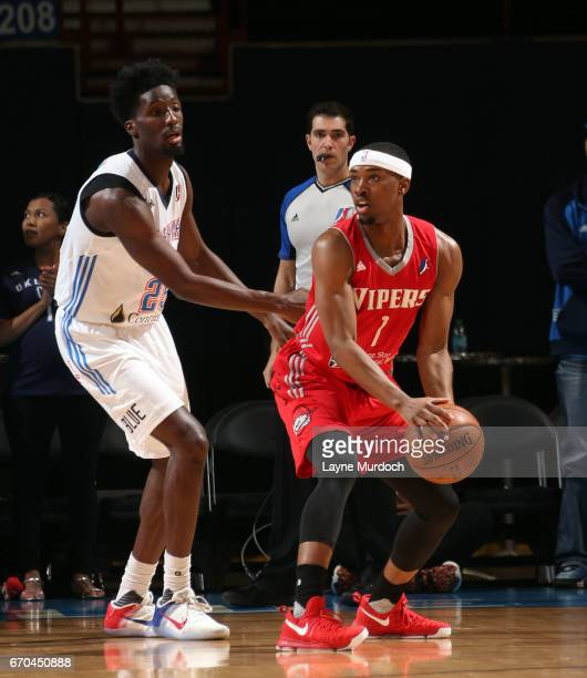 Daniel Hamilton of the Oklahoma City Blue defends against Isaiah Taylor the Rio Grande Valley Vipers during Game 3 of the Western Conference Finals...