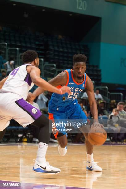 Daniel Hamilton of the Oklahoma City Blue dribbles into a Reno Bighorns defender during an NBA GLeague game on March 17 2018 at the Reno Events...