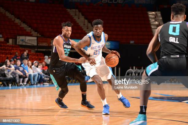 Daniel Hamilton of the Oklahoma City Blue handles the ball against the Greensboro Swarm on Decembert 2 2017 during an NBA GLeague game at the Cox...