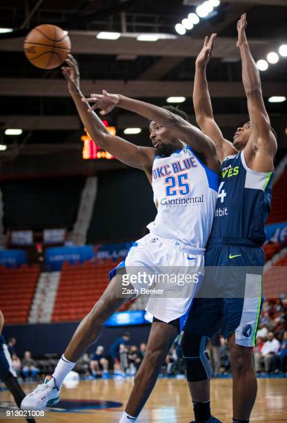 Daniel Hamilton of the Oklahoma City Blue passes the ball against the Iowa Wolves in Oklahoma City OK on January 31 2018 NOTE TO USER User expressly...