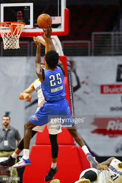 Daniel Hamilton of the Oklahoma City Blue shoots over the Iowa Energy in an NBA DLeague game on February 7 2017 at the Wells Fargo Arena in Des...