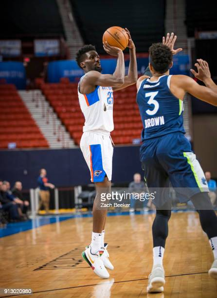 Daniel Hamilton of the Oklahoma City Blue shoots the ball against the Iowa Wolves in Oklahoma City OK on January 31 2018 NOTE TO USER User expressly...