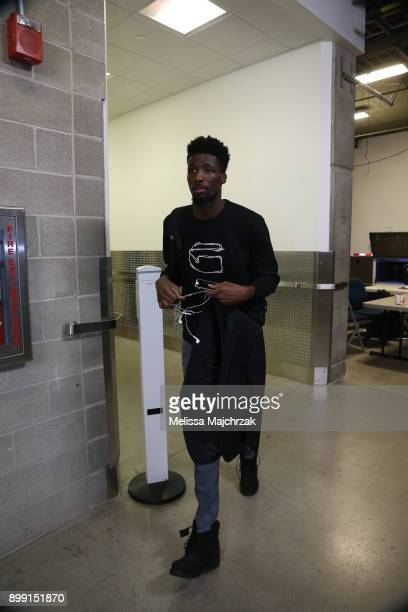 Daniel Hamilton of the Oklahoma City Thunder arrives before the game against the Utah Jazz on December 23 2017 at vivintSmartHome Arena in Salt Lake...