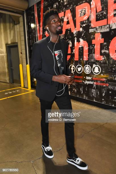Daniel Hamilton of the Oklahoma City Thunder arrives before the game against the Los Angeles Lakers on January 3 2018 at STAPLES Center in Los...
