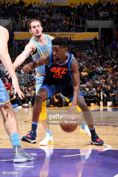 Daniel Hamilton of the Oklahoma City Thunder handles the ball against the Los Angeles Lakers on January 3 2018 at STAPLES Center in Los Angeles...