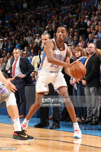 Daniel Hamilton of the Oklahoma City Thunder handles the ball against the Sacramento Kings on January 15 2018 at Chesapeake Energy Arena in Oklahoma...