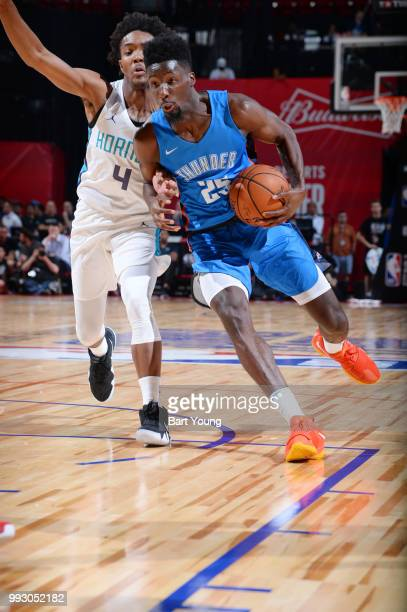 Daniel Hamilton of the Oklahoma City Thunder handles the ball against the Charlotte Hornets during the 2018 Las Vegas Summer League on July 6 2018 at...