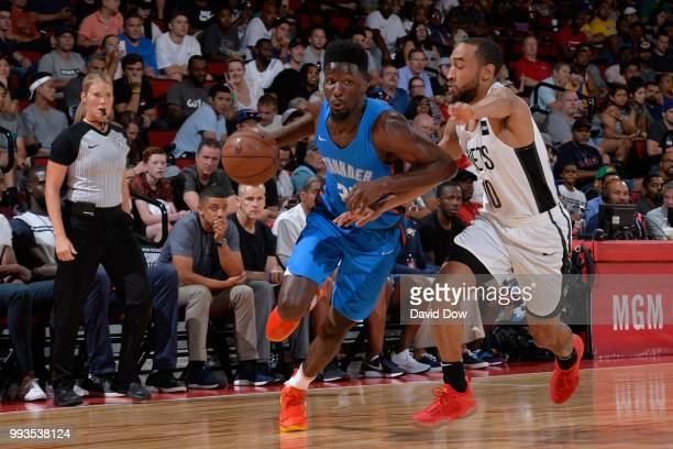 Daniel Hamilton of the Oklahoma City Thunder handles the ball against the Brooklyn Nets during the 2018 Las Vegas Summer League on July 7 2018 at the...