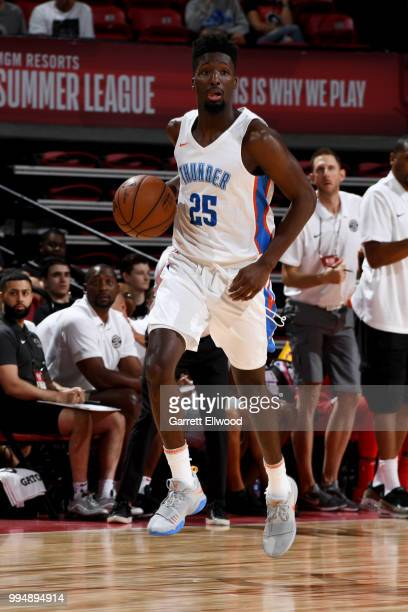 Daniel Hamilton of the Oklahoma City Thunder handles the ball against the Toronto Raptors during the 2018 Las Vegas Summer League on July 9 2018 at...