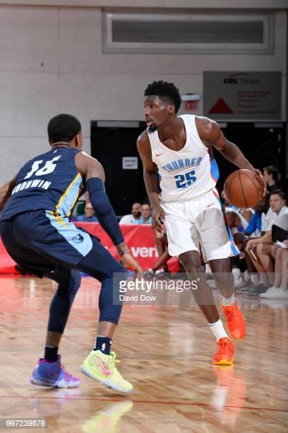 Daniel Hamilton of the Oklahoma City Thunder handles the ball against the Memphis Grizzlies during the 2018 Las Vegas Summer League on July 12 2018...