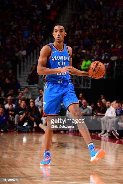 Daniel Hamilton of the Oklahoma City Thunder handles the ball during the game against the Detroit Pistons on January 27 2018 at Little Caesars Arena...