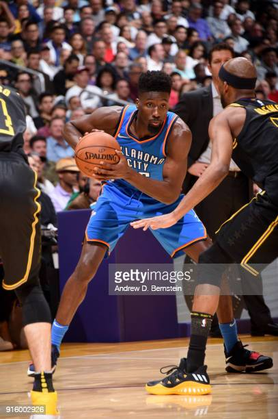 Daniel Hamilton of the Oklahoma City Thunder handles the ball during the game against the Los Angeles Lakers on February 8 2018 at STAPLES Center in...