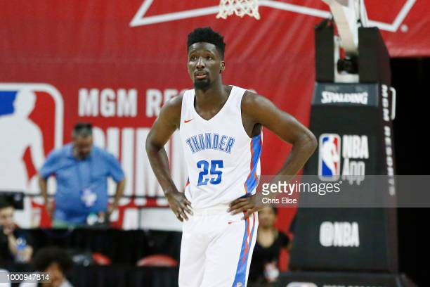 Daniel Hamilton of the Oklahoma City Thunder looks on during the game against the Toronto Raptors during the 2018 Las Vegas Summer League on July 9...