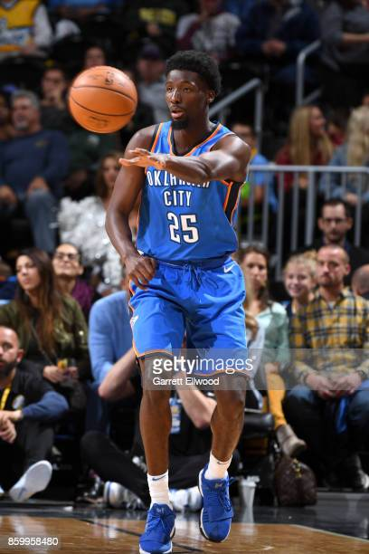 Daniel Hamilton of the Oklahoma City Thunder passes the ball against the Denver Nuggets on October 10 2017 at the Pepsi Center in Denver Colorado...