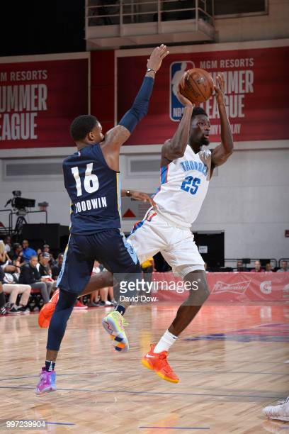Daniel Hamilton of the Oklahoma City Thunder passes the ball against the Memphis Grizzlies during the 2018 Las Vegas Summer League on July 12 2018 at...