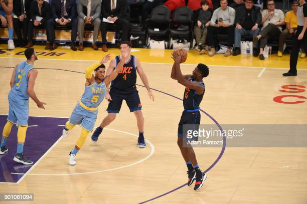 Daniel Hamilton of the Oklahoma City Thunder shoots the ball against the Los Angeles Lakers on January 3 2018 at STAPLES Center in Los Angeles...