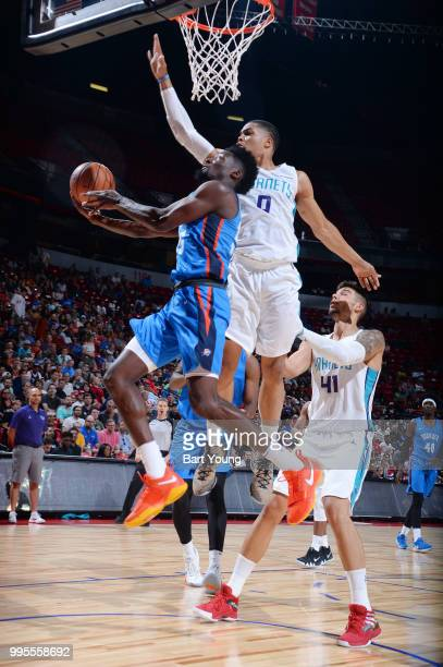 Daniel Hamilton of the Oklahoma City Thunder shoots the ball against the Charlotte Hornets during the 2018 Las Vegas Summer League on July 6 2018 at...