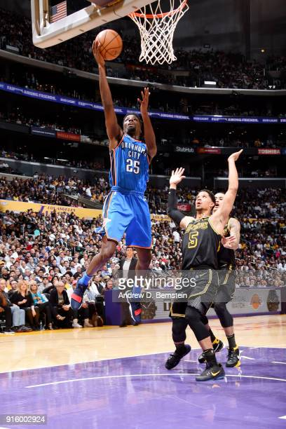 Daniel Hamilton of the Oklahoma City Thunder shoots the ball during the game against the Los Angeles Lakers on February 8 2018 at STAPLES Center in...