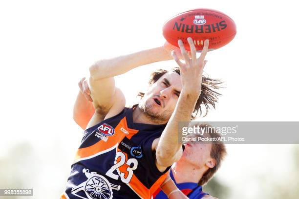 Daniel Hanna of the Cannons marks the ball during the round 12 TAC Cup match between Oakleigh and Calder at Warrawee Park on July 14 2018 in...