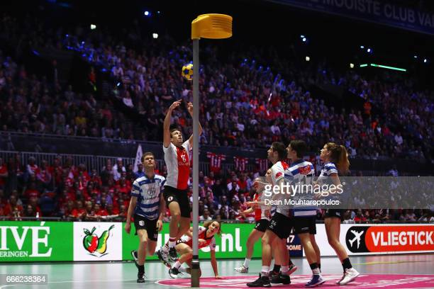 Daniel Harmzen of Top/Quoration takes a shot during the Dutch Korfball League Final between BlauwWit and TOP/Quoratio held at the Ziggo Dome on April...