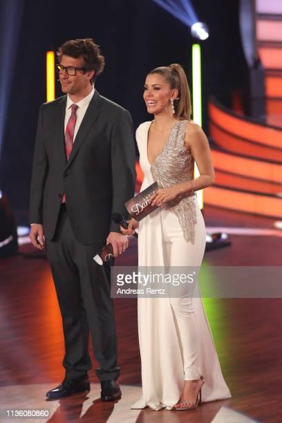 Daniel Hartwich and Victoria Swarovski smiles on stage during the preshow 'Wer tanzt mit wem Die grosse Kennenlernshow' of the television competition...