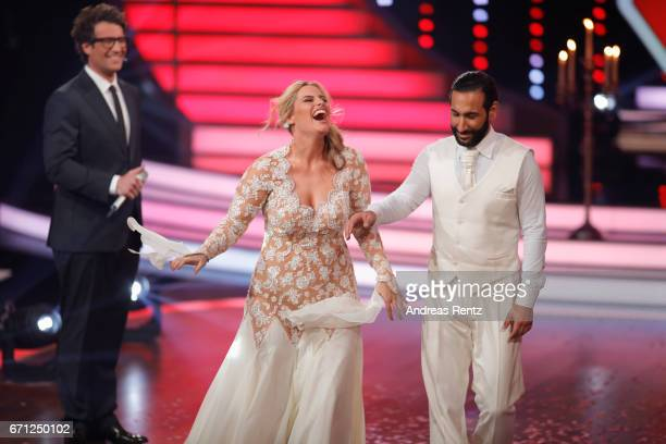 Daniel Hartwich Angelina Kirsch and Massimo Sinato during the 5th show of the tenth season of the television competition 'Let's Dance' on April 21...