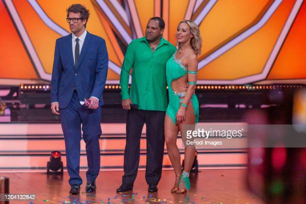 Daniel Hartwich Isabel Edvardsson and Ailton looks on during the 1st show of the 13th season of the television competition Let's Dance on February 28...