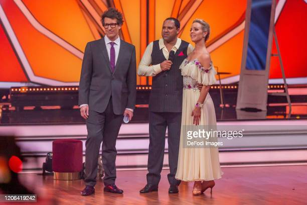 Daniel Hartwich Isabel Edvardsson and Ailton looks on during the 2nd show of the 13th season of the television competition Let's Dance on March 6...