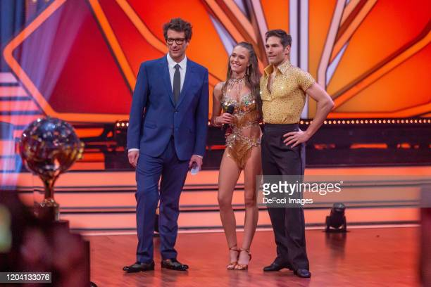 Daniel Hartwich Laura Mueller and Christian Polanc looks on during the 1st show of the 13th season of the television competition Let's Dance on...