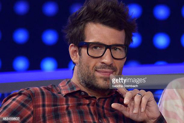 Daniel Hartwich looks on during the final of the television show 'Ich bin ein Star lasst mich wieder rein' on August 8 2015 in Huerth Germany