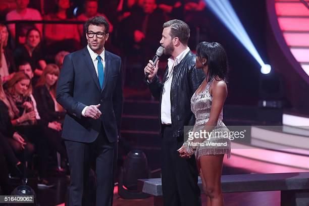 Daniel Hartwich Niels Ruf and Oti Mabuse are seen on stage during the 2nd show of the television competition 'Let's Dance' on March 18 2016 in...