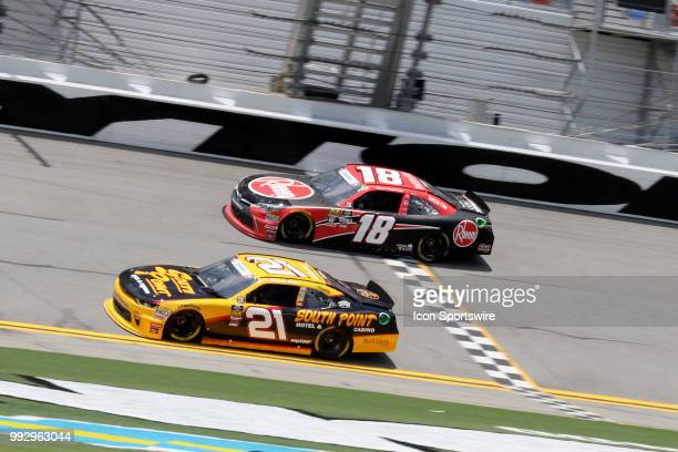 Daniel Hemric and Ryan Preece on the front stretch during practice for the CocaCola FireCracker 250 race on July 5 at Daytona International Speedway...