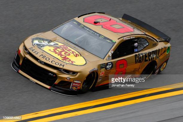 Daniel Hemric driver of the Bass Pro Shops/Caterpillar Chevrolet drives during practice for the Monster Energy NASCAR Cup Series 61st Annual Daytona...