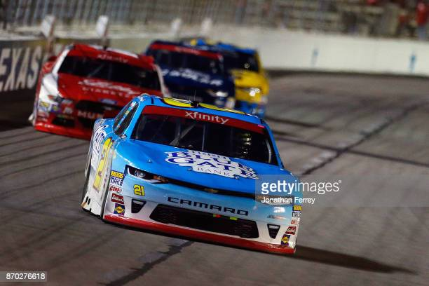 Daniel Hemric driver of the Blue Gate Bank Chevrolet leads a pack of cars during the NASCAR XFINITY Series O'Reilly Auto Parts 300 at Texas Motor...
